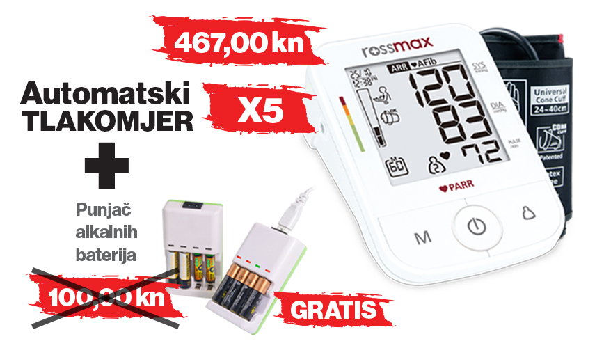 Rossmax tlakomjer X5 + gratis punjač alkalnih baterija