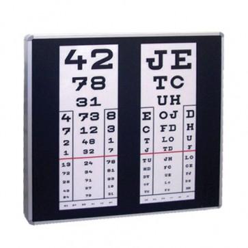 Osvijetljena tablica za ispitivanje vida, 2 stupca 69x69 cm