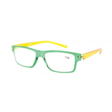 Naočale za čitanje Flex u dioptrijama +1, +1.50, +2, +2.50, +3 i +3.50, zelena fronta, žute drške