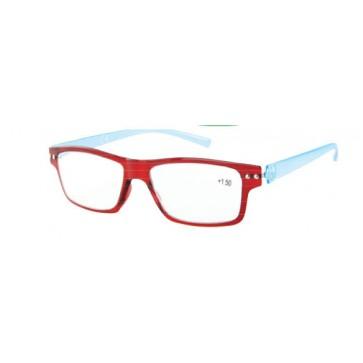 Naočale za čitanje Flex u dioptrijama +1, +1.50, +2, +2.50, +3 i +3.50, crvena fronta, plave drške