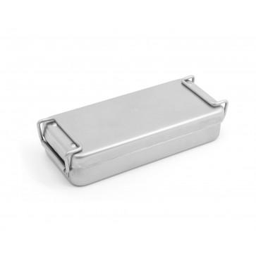 Kutija za sterilizaciju, glatka, inox, s ručkama, 180 × 80 × 40 mm