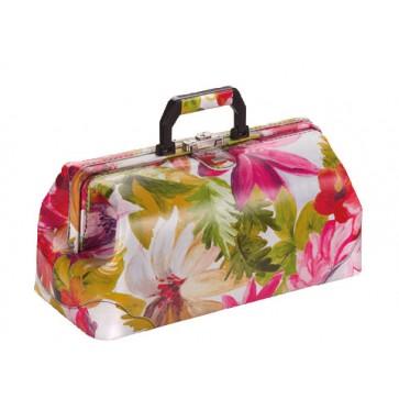 """Bollmann kofer za liječnika """"Practicus"""", koža, cvjetni uzorak"""