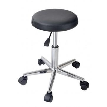 Stolica okrugla bez naslona, s kotačima i hidraulikom, promjer crnog sjedišta 32cm, inox  konstrukcija