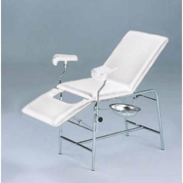 Ginekološki pregledni ležaj, kromirana čelična konstrukcija i ležaj bijele boje, 180x60cm, visina 78cm,  držači za noge i okrugla posuda