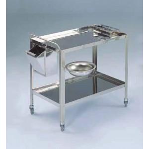 Kolica za rublje s dvije police, 90x60x80v cm, konstrukcija od inoxa, držač za boce, kanta za otpad, držač i zdjela fi 32cm