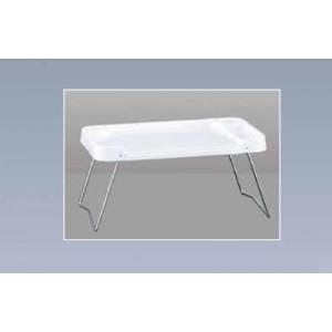 Stolić za krevet, 58x39x5 cm bijela plastična tacna, na sklopivim metalnim nogama