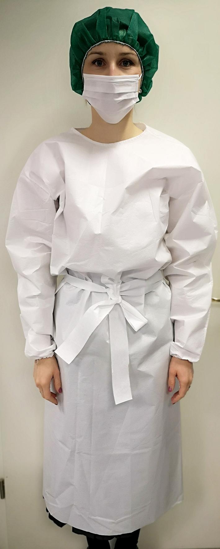 11440/L Jednokratni kirurški ogrtač na vezanje | 40 g/m2 | bijeli | pakiranje 10 kom