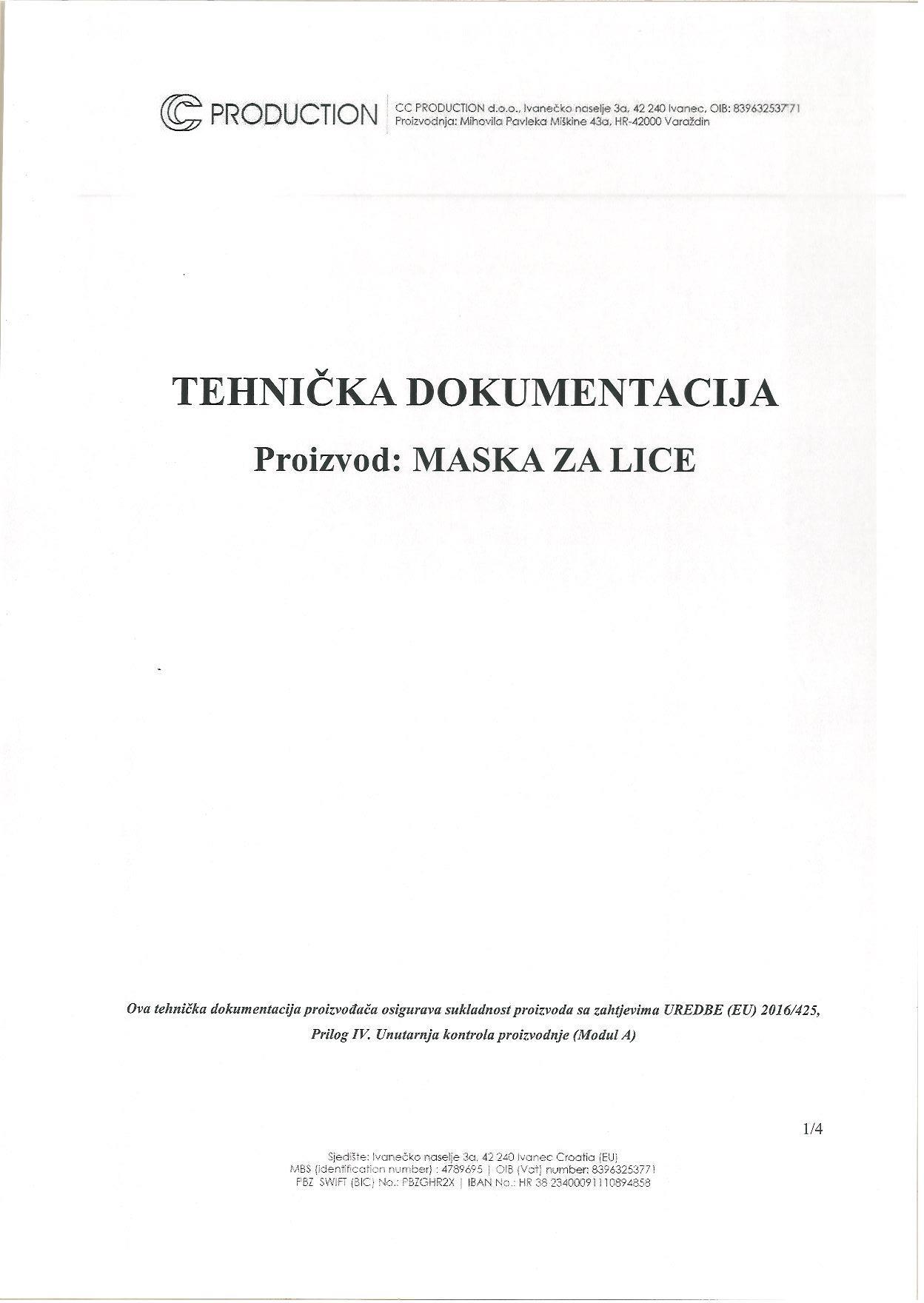Certifikat - pamučna maska za lice od medicinskog pamuka - 10 komada u pakiranju