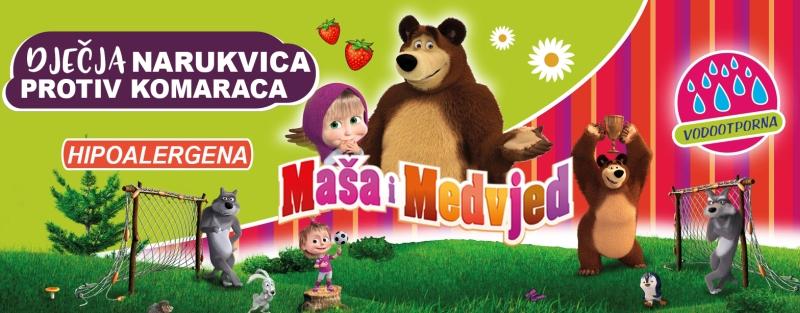 Hipoalergenska dječja narukvica protiv komaraca - Maša i medvjed